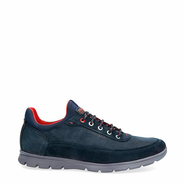 Leather shoe in navy with Lycra inner lining