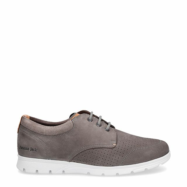 Leather shoe in grey with leather inner lining