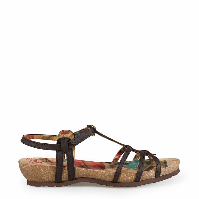 Women's leather sandal in brown