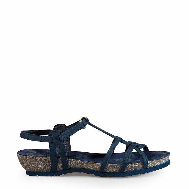 Women's leather sandal in blue