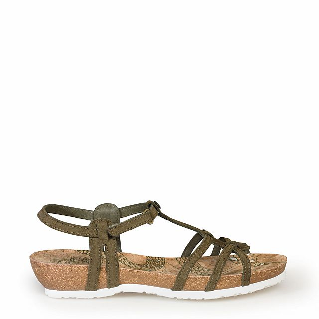 Leather sandal in truffle with leather inner lining