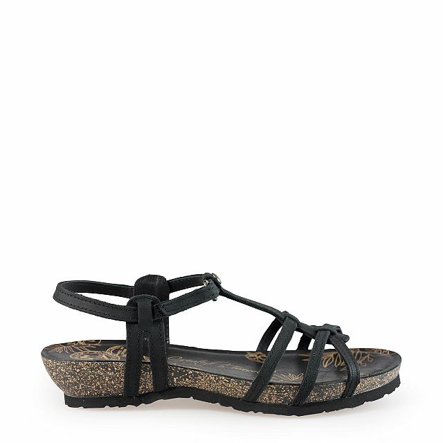 Leren sandaal, zwart met een leren voering