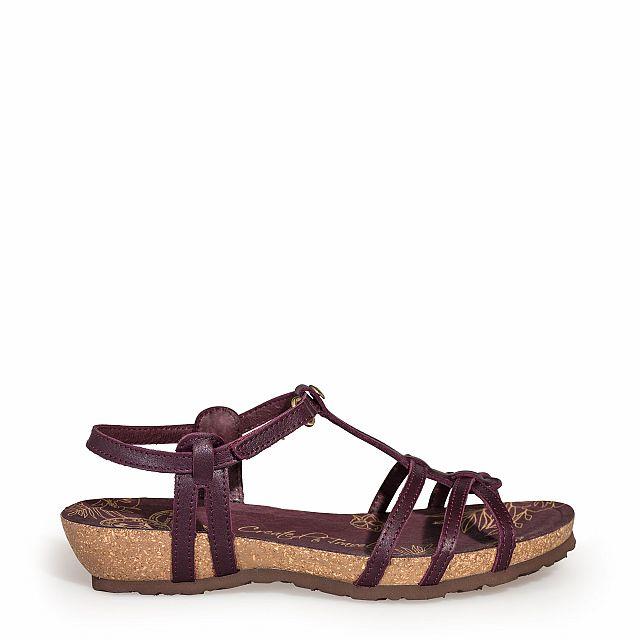 Sandalia de piel burdeos con forro de piel