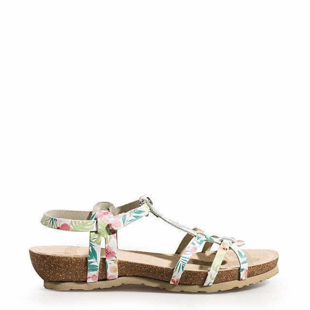 Sandalia de piel tecno blanco tropical