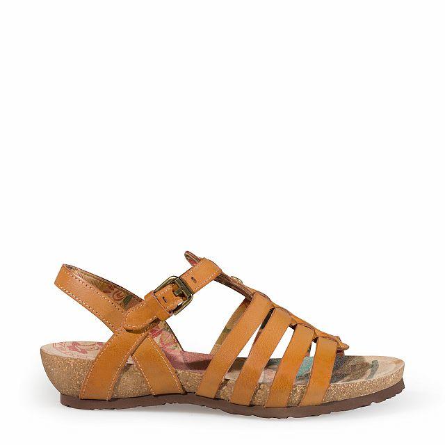 Sandalia de piel tecno camel