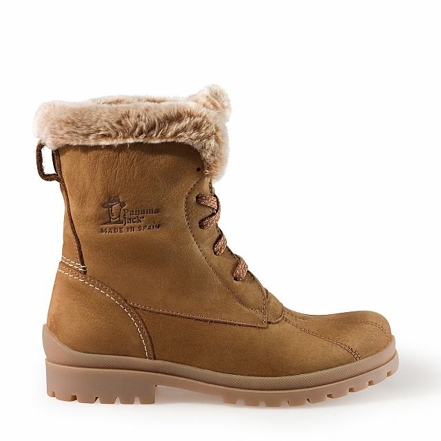 Leather boots in taupe with fur inner lining
