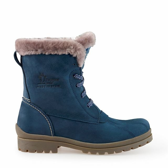 Leather boots in blue with sheepskin inner lining