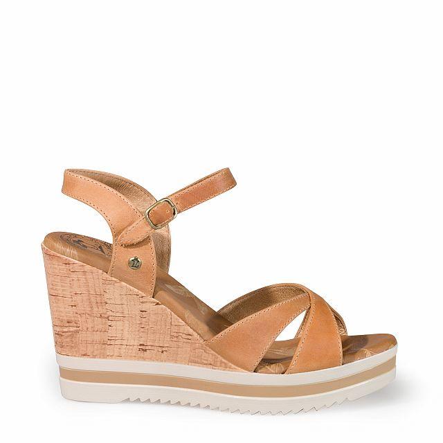 Sandalia de piel camel