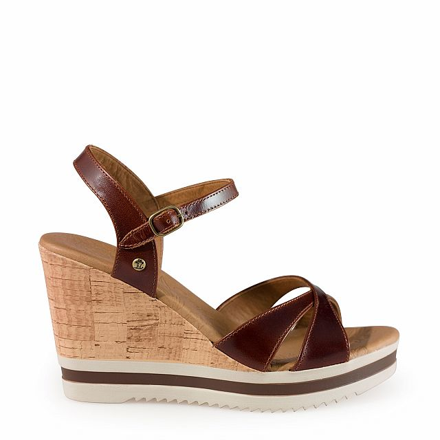 Sandalia de piel cuero con forro de piel