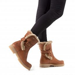 Leather women's boot in bark with gore-tex