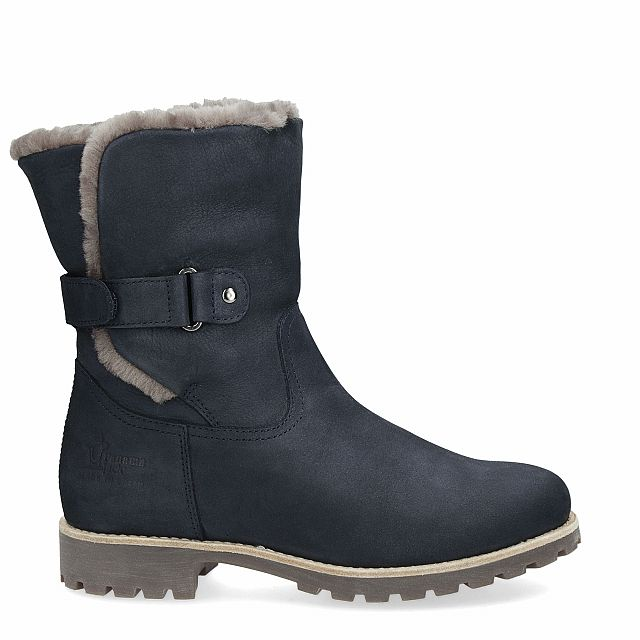 Leather boot in navy with natural fur inner lining
