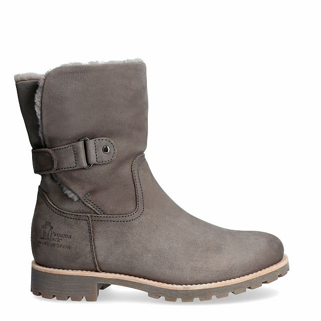 Leather ankle boots in grey with sheepskin inner lining