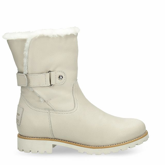 Leather boot in beige with natural fur inner lining