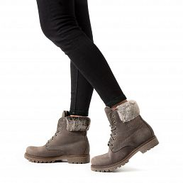 Grey leather women's boot with a leather lining