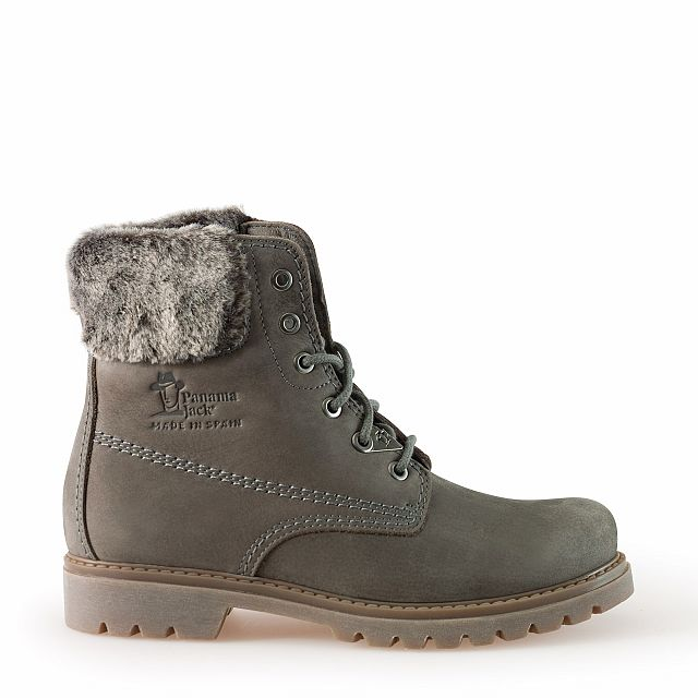 Leather boots in grey with leather inner lining