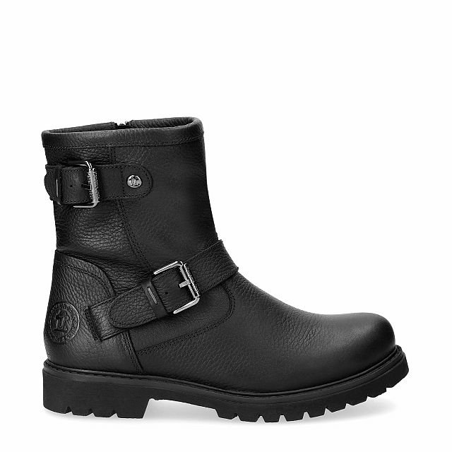 Black leather boot with a leather lining