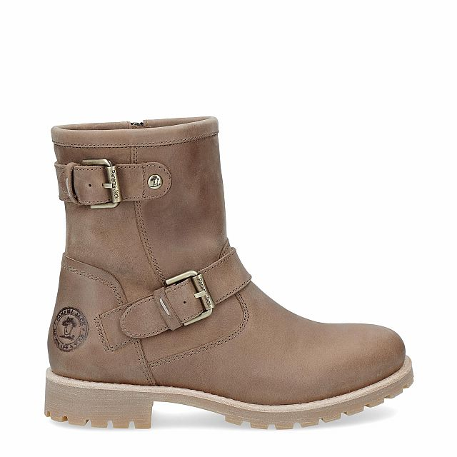 Leather boot in taupe with a leather lining