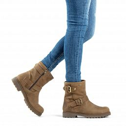 Leather women's boot in mink with a Gore-tex® lining