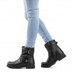 Leather women's biker boots with GORE - TEX