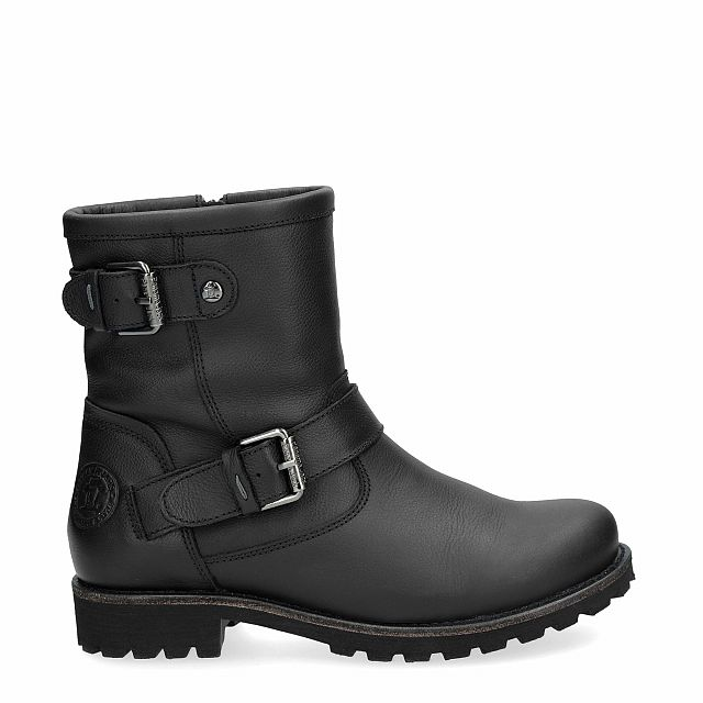 Leather boot in black with sheepskin inner lining