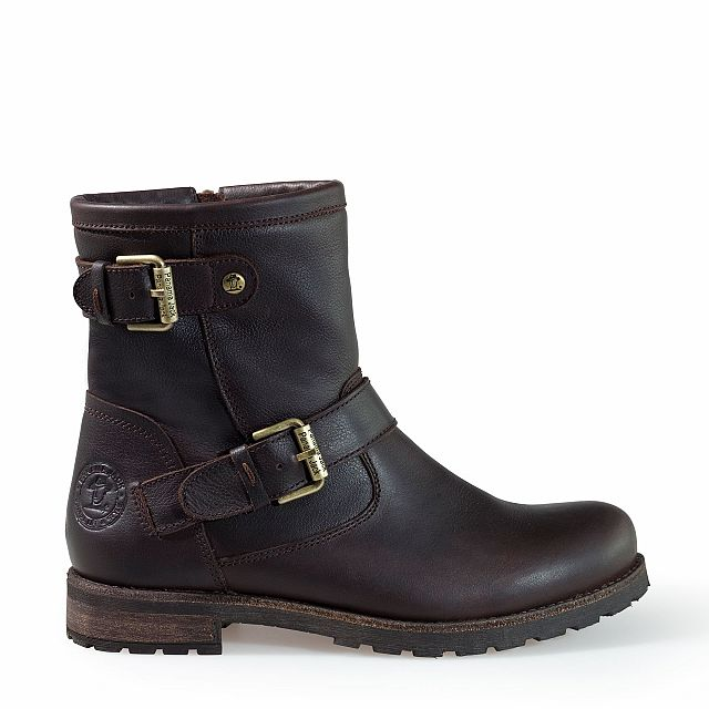 Leather ankle boots in brown with sheepskin inner lining