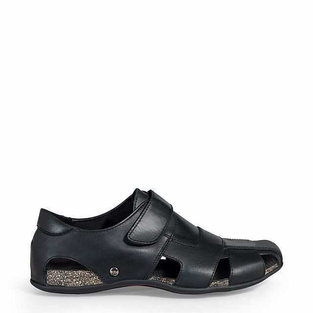 Leather sandal in black with leather inner lining