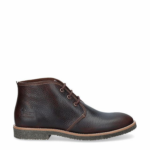 Brown leather ankle boot with a leather lining