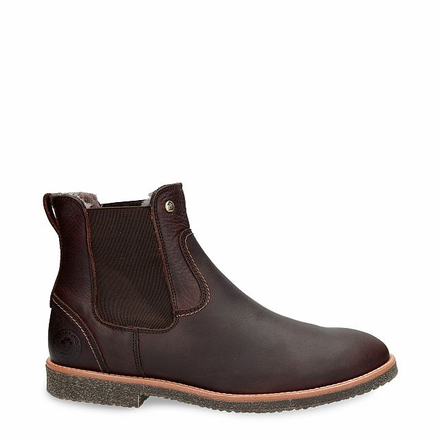 Leather ankle boot in brown with sheepskin inner lining