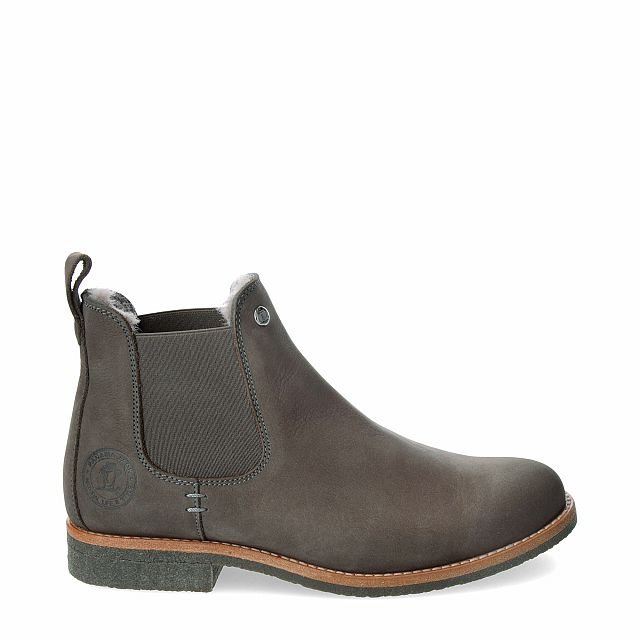 Leather ankle boot in grey with sheepskin inner lining