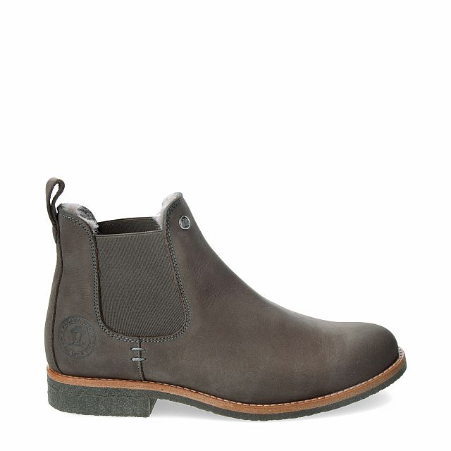 Leather ankle boot in grey with natural fur inner lining