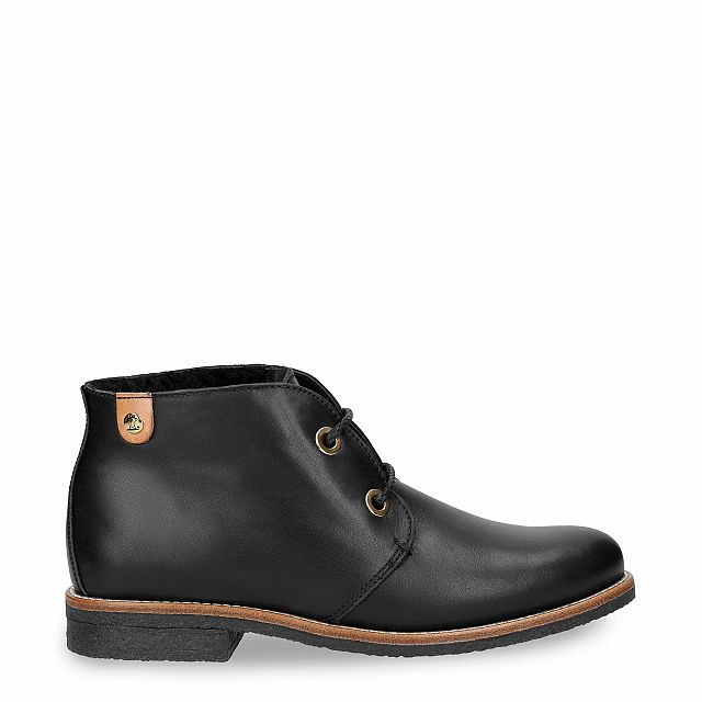 Black leather ankle boot with a lining of Sheepskin