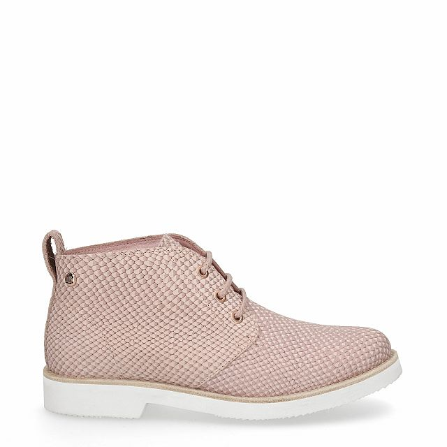 Leather ankle boot in pink with leather inner lining