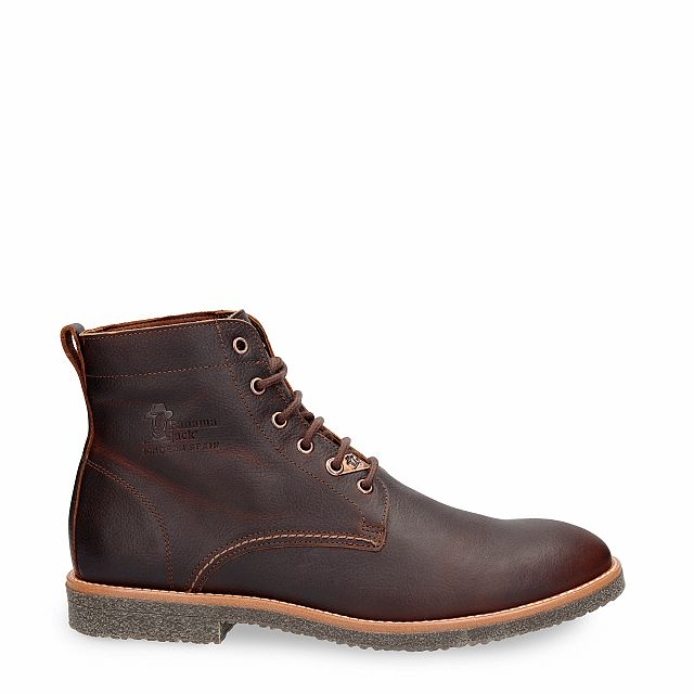 Leather ankle boot in chestnut with leather inner lining