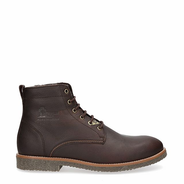 Brown leather ankle boot with a lining of Sheepskin