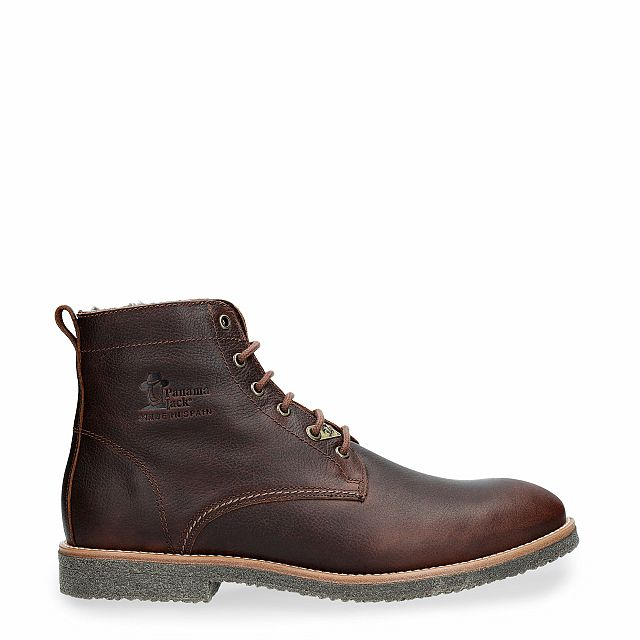Leather ankle boot in chestnut with a lining of Sheepskin