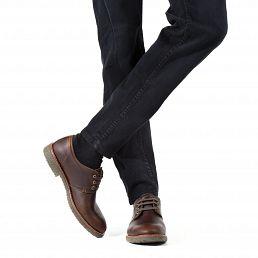 Kastanjebruin leren schoen met een gore-tex voering