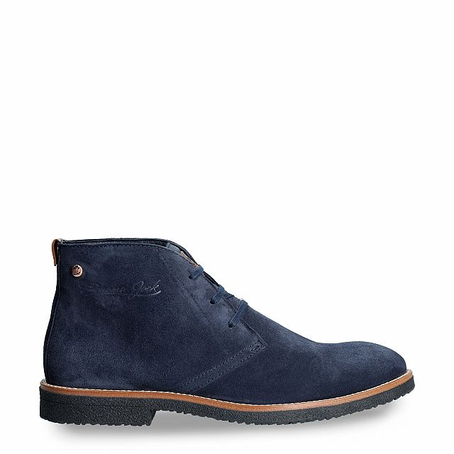 Leather ankle boot in navy with a leather lining