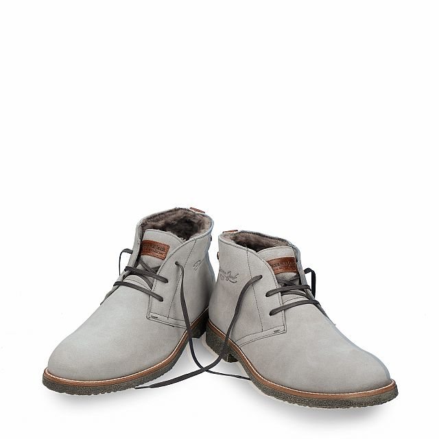 Grey leather ankle boot with a lining of natural fur