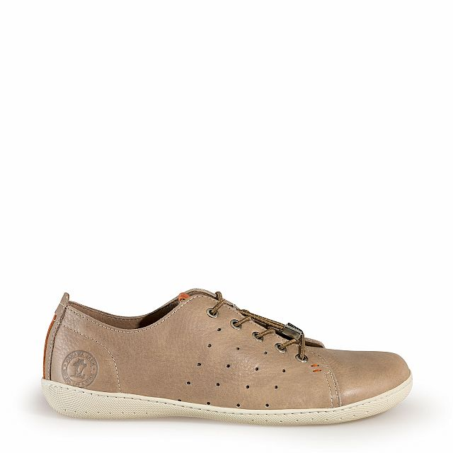 Leather trainer in taupe with leather inner lining