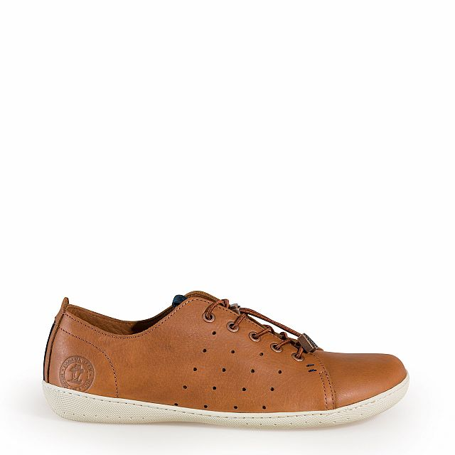 Leather trainer in tan with leather inner lining