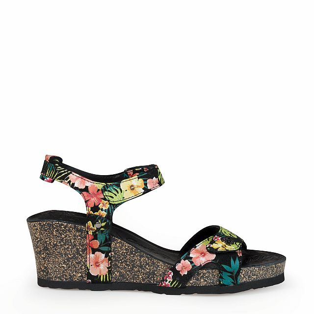 Women's leather sandal in tropical black