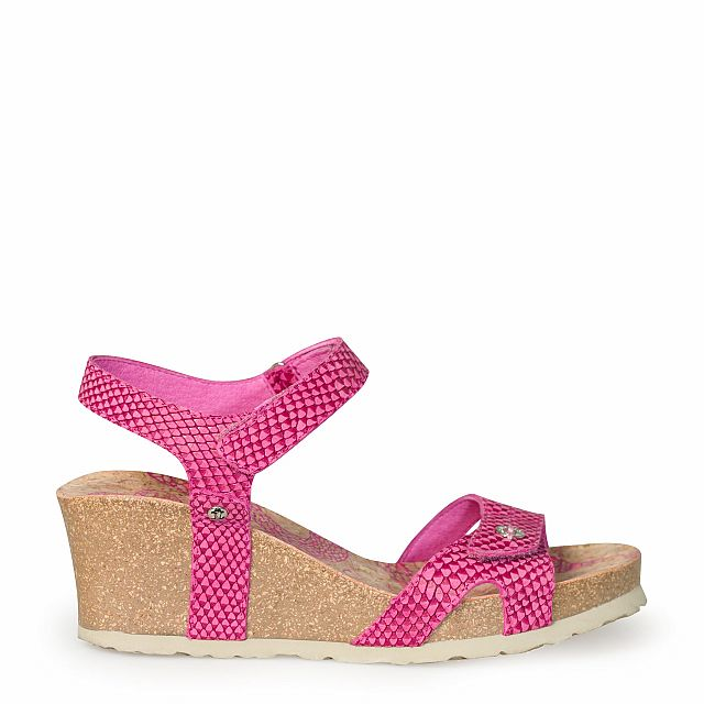 Sandalia de piel fucsia