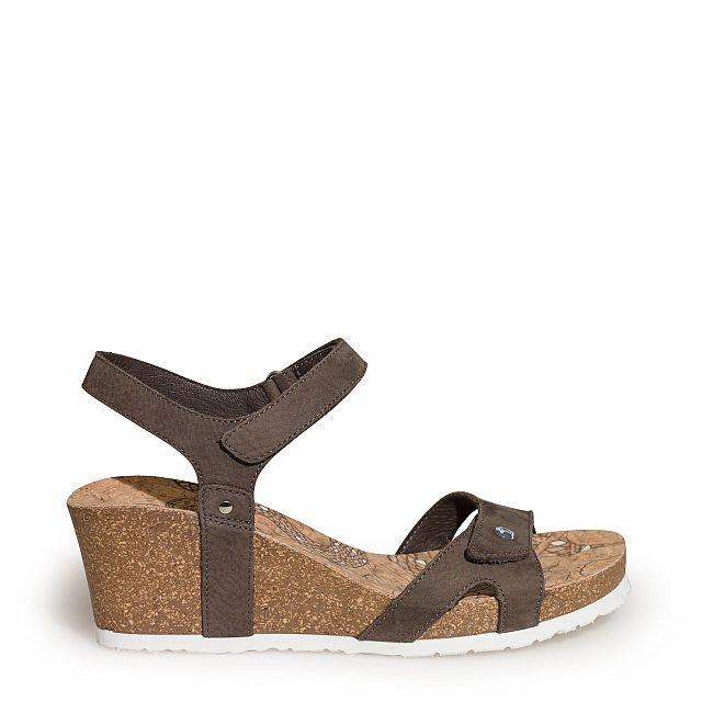 Sandalia de piel gris con forro de piel
