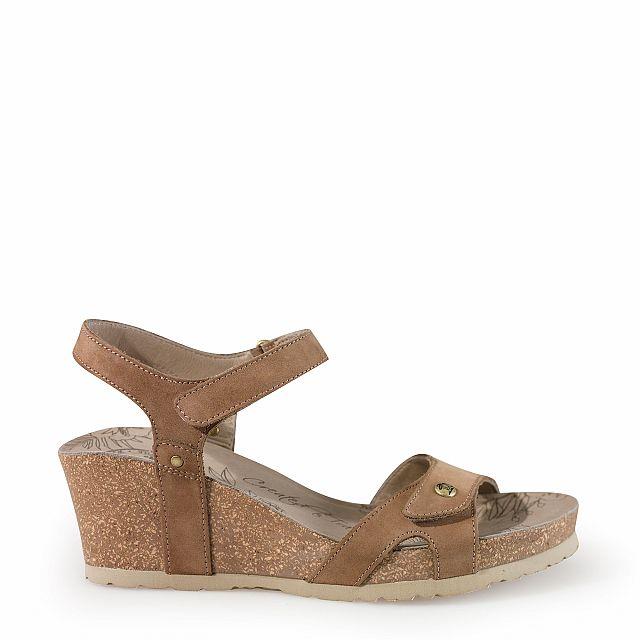 Sandalia de piel taupe con forro de piel