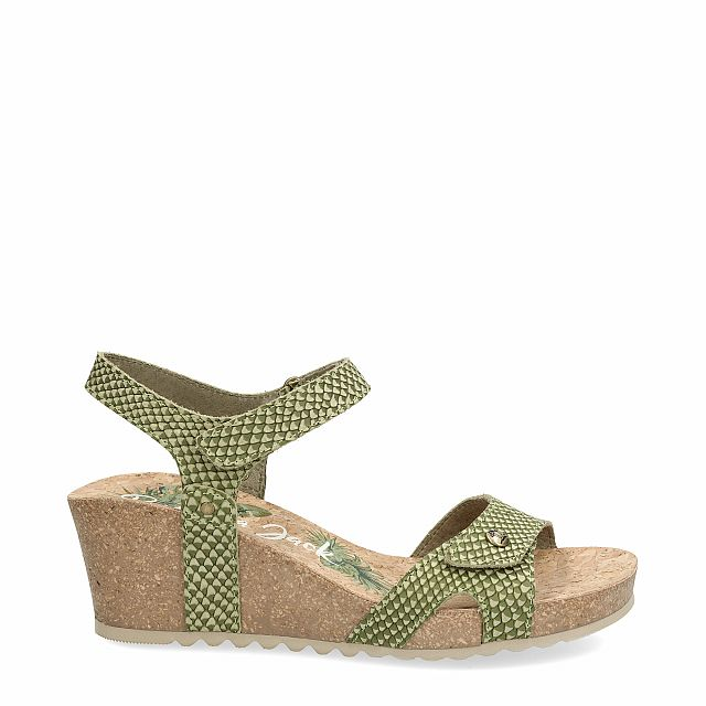 Leather sandal in khaki with leather inner lining