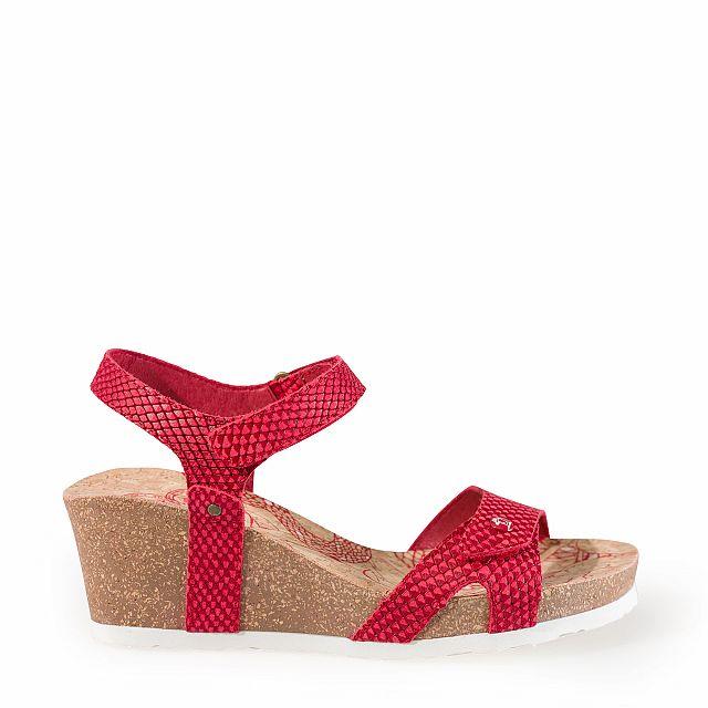 Leren sandaal, rood met een leren voering