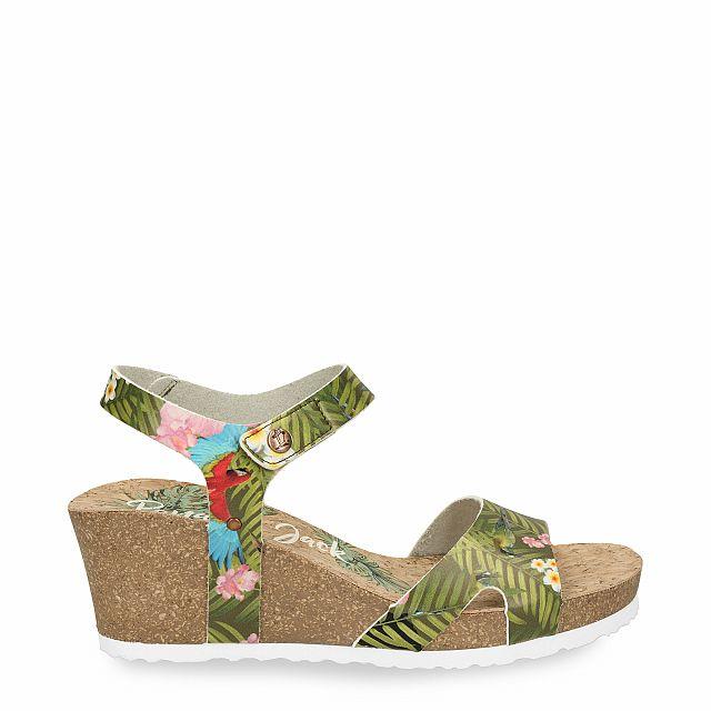 Leren sandaal in kaki