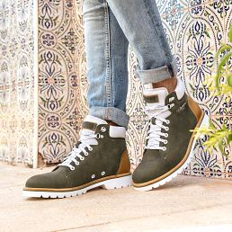 Khaki leather ankle boots with a leather lining