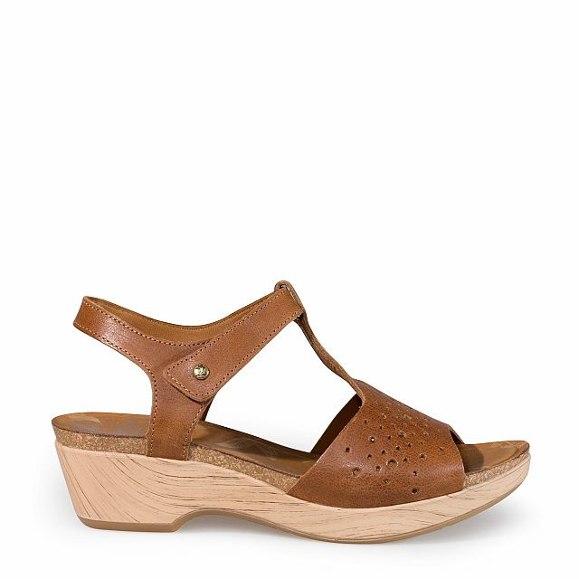 Women's leather sandal in bark