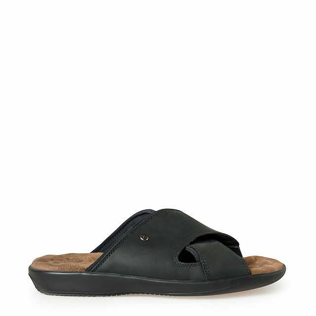 Men's leather sandal in black